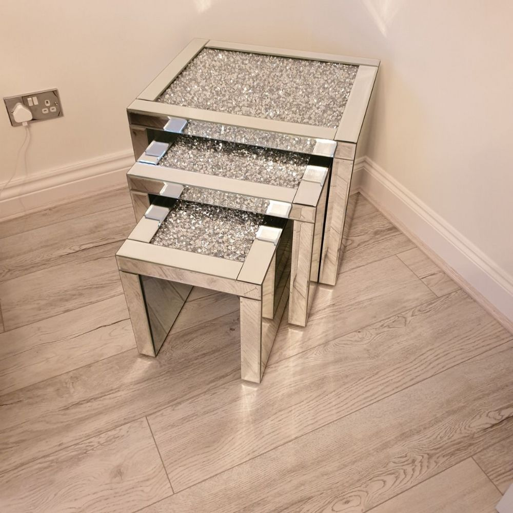 Crushed Diamond Mirrored Nest of Tables